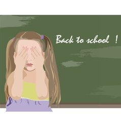 Little girl being unhappy back to school vector image