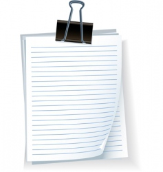note paper with bulldog clip vector image vector image