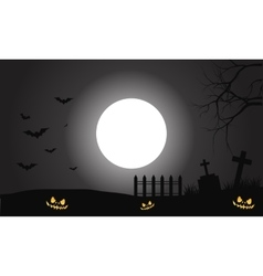 Silhouette of scary halloween pumpkins and bat vector image