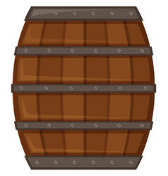 wooden barrel on white background vector image
