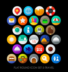 flat round icon set 5-travel vector image vector image