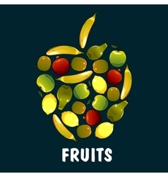 Fruits flat icons in shape of apple vector image