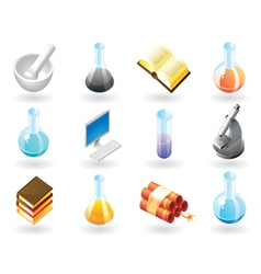 Isometric-style icons for chemistry vector image vector image