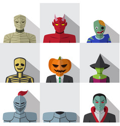 set of people with halloween costume in flat icons vector image vector image