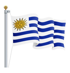 waving uruguay flag isolated on a white background vector image