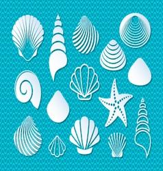 White sea shells icons vector image