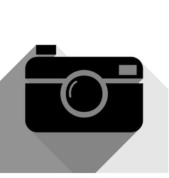 digital photo camera sign black icon with vector image