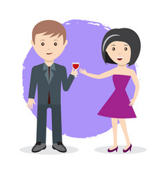 man and woman toast with glass of wine flat style vector image