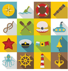 nautical icons set flat style vector image vector image
