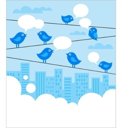 social network background with blue birds vector image vector image