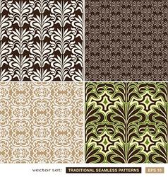 Vintage ornamental backgrounds set - brown green vector image vector image