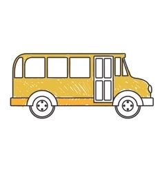 yellow silhouette school bus to right side vector image vector image
