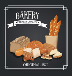 bakery premium quality shop design elements rye vector image