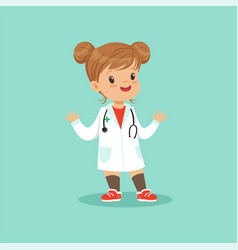 cheerful baby girl in white medical coat and vector image
