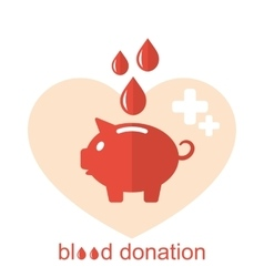 Concept Flat Medical Icons of Piggy Bank as Blood vector image vector image