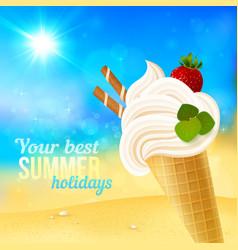 Soft strawberry ice-cream on beach background vector