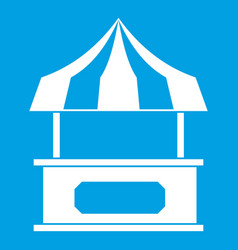 store kiosk with striped awning icon white vector image