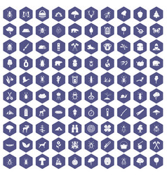 100 forest icons hexagon purple vector