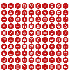 100 hi-school icons hexagon red vector