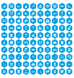 100 maternity leave icons set blue vector