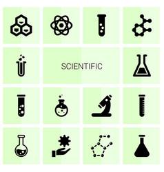 14 scientific icons vector image