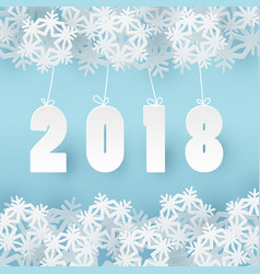 2018 happy new year background with 3d paper craft vector image