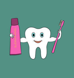 a cartoon tooth holds a toothbrush and toothpaste vector image