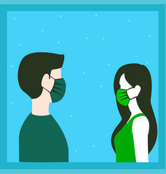 A man and woman wearing a maskto prevent disease vector