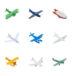 aircraft icons isometric 3d style vector image