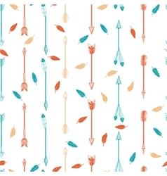 Arrows and feathers boho seamless pattern vector image