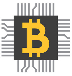 Bitcoin symbol icon as computer microchip vector