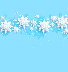 blue realistic snowflakes border vector image