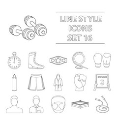 boxing set icons in outline style big collection vector image