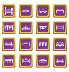 Bridge icons set purple square vector