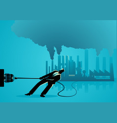 Businessman unplugging polluted factory vector
