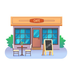Cafe building closed with text in wooden frame vector