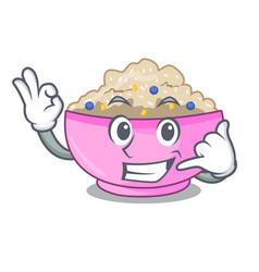 Call me cooked whole porridge oats in cartoon pan vector