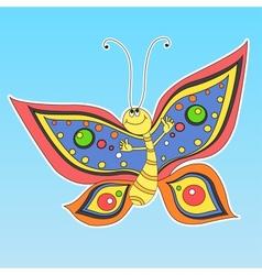Cartoon happy butterfly vector image