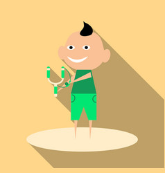 Cartoon image of a cute little boy in shorts vector
