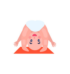 Cheerful baby in funny pose on small soft red rug vector
