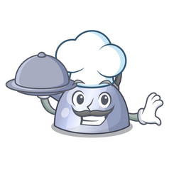 Chef with food whistling kettle cartoon on the vector