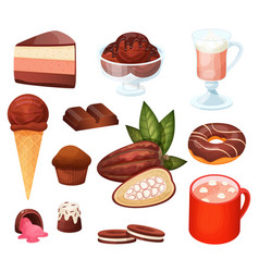 chocolate dessert menu in cafe set isolated vector image