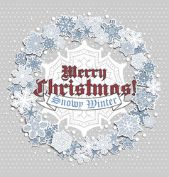 christmas greeting card with wreath of snowflakes vector image