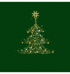 Christmas tree golden ornament vector image