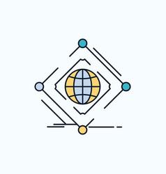 Complex global internet net web flat icon green vector