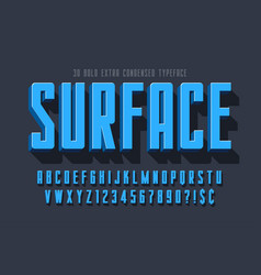 condensed 3d display font design alphabet vector image