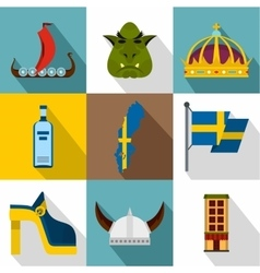 Country Sweden icons set flat style vector