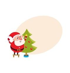 Cute and funny Santa Claus decorating a Christmas vector image