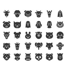 cute animal face included farm forest and african vector image