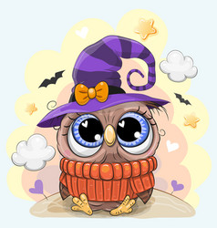 Cute owl in a halloween hat vector